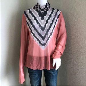 AFRM Women's Top Plus Size 2X Zadie Power Mesh Turtleneck Long Sleeve Pink